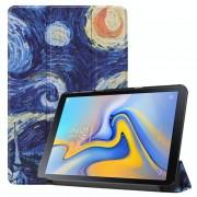 Samsung Sky patroon gekleurde geschilderd horizontale Flip PU lederen Case voor Galaxy Tab Advanced2 / T583 met drie-vouwen houder