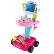 ISO 8245 Lékařský vozík s vyšetřením EKG růžová