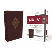 NKJV, Deluxe Reference Bible, Personal Size Giant Print, Imitation Leather, Burgundy, Red Letter Edition, Comfort Print