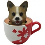 Idea Max Peek-A-Pet Bobble Heads Flowers Corgi (Tea Cup)