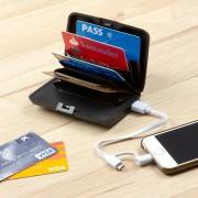 Portofel pentru carduri cu protectie antifrauda si power bank