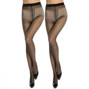 Neska Moda Women 2 Pair Nylon Black Panty Hose Stockings