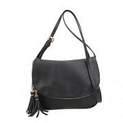 Rrimin PU Leather Women Tassel Messenger Bag Fashion Lady Handbag Shoulder Crossbody Bag (Black)
