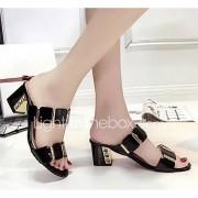 Dames Sandalen Comfortabel Zomer PU Causaal Wit Zwart 5 - 7 cm