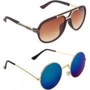 Zyaden Aviator, Round Sunglasses(Blue, Green, Brown)