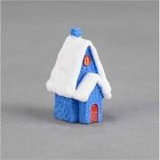 2 PC'S Snow Scene huis kerst sneeuwpop decoratie hars ambachtelijke cadeau huis decoratie (blauw)