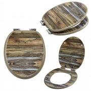 [neu.haus] Asiento de inodoro con dispositivo automático de descenso (Óptica madera) tapa para WC - cierre suave