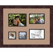 ArtToFrames Art to Frames Double-Multimat-319-767/89-FRBW26061 Collage Frame Photo Mat Double Mat with 1 5x7 and 2 4x6 and 2 3x3 Openings and Espresso frame