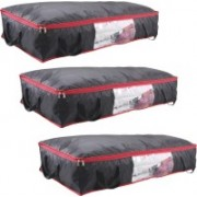Pretty Krafts Blanket Cover with Side Handles Long Underbed Storage Bag Storage Organizer F1523P_Black3(Black)