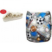 House of Quirk Wet-Free Inserts for Babies of Ages 0 to 2 Years (Printed Football) Diaper Bag Multi Color