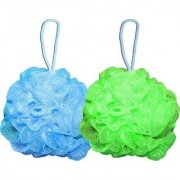 FOXSTON Bath Body Brush Loofah Sponge Nylon Mesh Scrubber Shower Pouf for Men and Women 35 Gram Pack of 2 (Plastic)