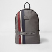 River Island Mens Grey faux leather sporty stripe backpack (One Size)
