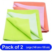 Glassiano Waterproof New Born Baby Bed Protector Dry Sheet Combo Large Peach/Pista Green (Pack of 2)