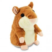Owikar Talking Hamster Mouse Toy, Repeats What You Say And Can Walking Nod Head Or Walk Electronic Pet Plush Buddy For Child Kids (18 Cm - Speak Walk, Bright Brown)