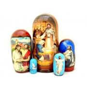 Catholic Orthodox Wood Nativity Scene Nativity Of Christ Nesting Doll 7 Inch