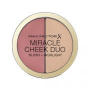 Max Factor Fard de obraz cu efect de iluminare, oferă tenului o strălucire perfectă Miracle Cheek Duo (Blush & Highlight) 11 g 20 Brown Peach & Champagne
