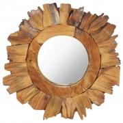 vidaXL Lustro ścienne, 40 cm, drewno tekowe, okrągłe