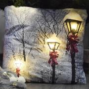 Karácsonyi LED elemes plüss párna Lámpások 40 x 40 cm