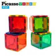 PicassoTiles PT27 Magnetic Building Blocks 27 Piece Alphabet Toy Set Magnet Tiles Construction Toys 3D Clear Color Stacking Block Toy STEM Playboard