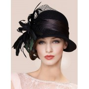 rosegal Charming Feather Ribbon Band Bowler Hat