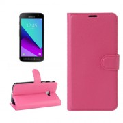 Samsung Galaxy Xcover 4 Case, G390F Case, Litchi Texture Horizontal Flip Leather Case with Card Slots & Wallet & Holder (Magenta)