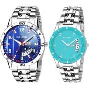 Kajaru Ddcouple-2026 Blue Dial Steel Belt Day And Date Couple Watch For Men And Women