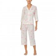 LAUREN Ralph Lauren Petite Cotton Rayon Lawn Woven 34 Sleeve Pointed Notch Collar Capri Pajama Set Multi Floral