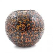 Vaza rotunda din sticla mozaic auriu cu maro - mare