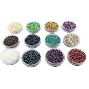eshoppee Seed beads for jewelery making Set of 12 Colours 20Gm X 12 Box