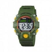 Ceas de copii sport SKMEI 1484 waterproof 5ATM cronograf alarma data si iluminare cadran verde