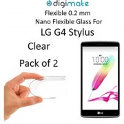 Digimate Nano Clear 0.2 mm Screen Guard Protector Flexible Glass for LG G4 Stylus (Pack of 2)