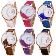 Ansh Max-Re Round Dial 6 Pic Beautiful Analog Watch Combo for women