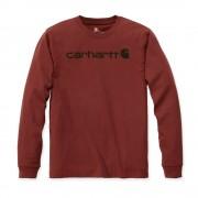 Carhartt 104107 Core Logo Longsleeve T-Shirt - Relaxed Fit - Dark Barn Red Heather - XS
