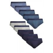 Mens Next Blue Briefs Ten Pack - Blue