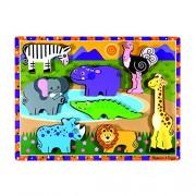 Melissa & Doug Safari Chunky Wooden Puzzle,Multicolor
