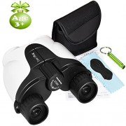 Kids Binoculars, 10x25 Compact Outdoor Binocs Toys with Weak Light Night Vision for Bird Watching, Camping, Hunting White