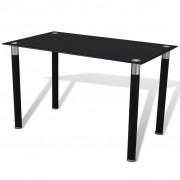 vidaXL Eettafel met glazen tafelblad zwart