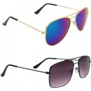 Royalmede Aviator, Rectangular Sunglasses(Black, Violet)
