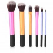 ER Nuevo 6pcs Polvo Cosmético Del Maquillaje Del Sistema De Cepillo Herramienta Fundación Pinceles Blush Multicolor.