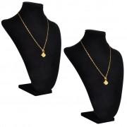 vidaXL Flanelový stojan na náhrdelníky a retiazky, čierny, 23x11,5x30cm, 2 ks