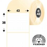 43 * 38 mm-es, 1 pályás direkt termál etikett címke (1000 címke/tekercs)