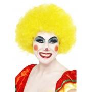 Peruca petrecere afro clown galbena