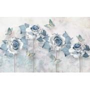 Fototapet Decorativ Creative Decor Elegant Flower Butterfly Light Blue 200 x 300 cm