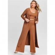 Plus Size Ribbed Wide LEG Pant Pants - Orange/brown