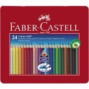 Creioane colorate 24 culori/set FABER-CASTELL Grip 2001, cutie metal, FC112423