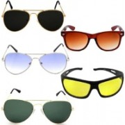 shadz Aviator, Aviator, Aviator, Wayfarer, Oval Sunglasses(Black, Blue, Green, Brown, Yellow)