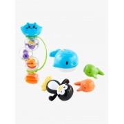 VERTBAUDET Conjunto de brinquedos de banho, em plástico azul medio liso com motivo