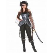 Disfarce de pirata detalhes prateados mulher