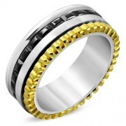 Fekete, arany és ezüst színű nemesacél gyűrű-8