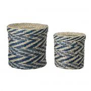 Bloomingville - Multicolour Seegras-Korb (2er-Set), blau / natur